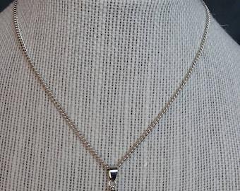 Sea glass pendant lavender with chain