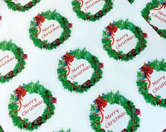 Christmas Gift Tag, Christmas Label, Round label, Holiday Label, Handpainted Sticker-Watercolor Sticker-W1
