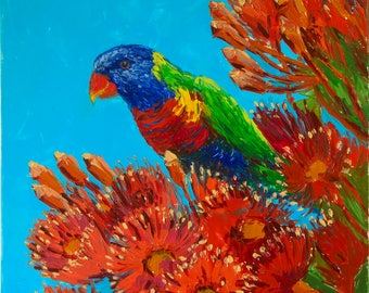 Rainbow lorikeet in the Corymbia tree — original one of a kind oil painting on stretched canvas