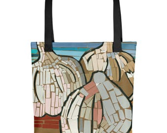 Garlic Mosaic - Amazingly beautiful full color tote bag with black handle featuring children's donated artwork.