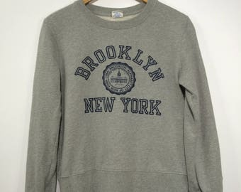 Vintage 90's CHAMPION Sweatshirt Women Medium Champion Brooklyn New York Athletic Champion Authentic Women Pullover Jumper Grey Size M