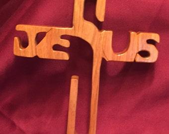 Jesus Cross in Brazilian Yellowheart