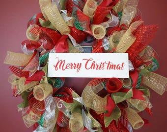 Christmas wreath, deco mesh wreath