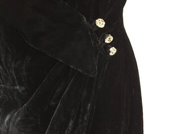 Vintage black velvet wiggle dress