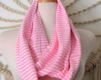 Baby Stripes Please  - Soft Jersey Cotton Striped Nautical Scarf, Pink Nautical Scarf, Sailor Scarf, Sailing Scarf, Boating Loop Scarf