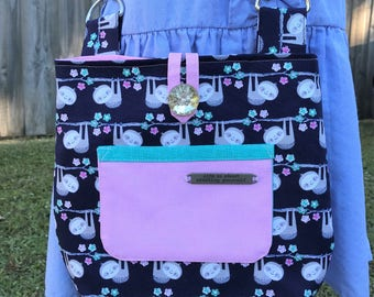 Reversible and Adjustable Cross Body Little Girls Bags – Cute Sloths Print Bags