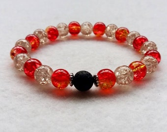Essential Oil Diffuser Bracelet,  Lava Stone and Crackle Glass Stretch Bracelet