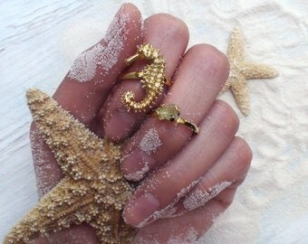 Seahorse Gold Ring Sumer Beach Wedding Jewelry Gift for Her