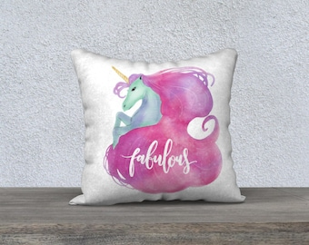"Decorative pillow cover ""Fabulous Unicorn"" girl's room, kids cushion, decoration, room design, pink, Unicorn"