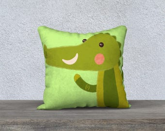 "Kids decorative pillow cover ""crocodile"" green pillowcase with Pillow-gift-baby room kids decorative cushion-green-animal"