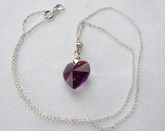 Swarovski Heart pendant with sterling silver bail and chain