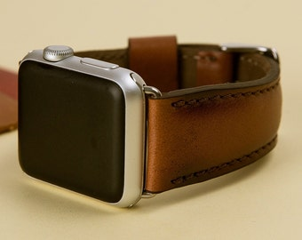 Genuine Leather, 38mm, 42mm Leather Apple Watch Band, Apple Watch Band, Man or Women, Handmade, Vegan, Distressed, Naturel, Soft Leather