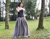 Gothic wedding black brocade overbust corset - Metallic black corset - Alternative wedding corset - Steampunk wedding - Gothic wedding dress