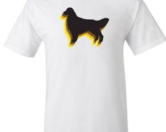 Vintage 70's style golden retriever dog Silhouette Logo Graphic T Shirt