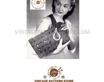 Ladies 1930s, crochet circles, rectangular evening clutch bag purse with wrist strap - One Size - Vintage PDF Crochet Pattern 1231