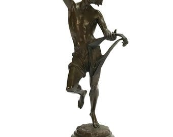 Antique Bronze Sculpture 'Le Danseur Napolitain au Luth' by Albert-Ernest Carrier-Belleuse (French, 1824 - 1887) | Table Top Statue Figurine