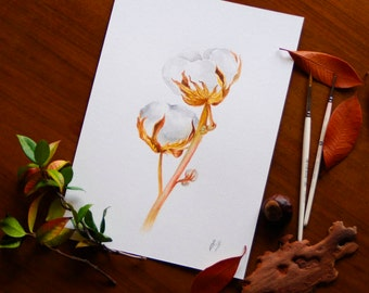 Cotton Watercolor Cotton Wall Art Original Botanical Watercolor Illustration Cotton Art Painting Cotton Branch Wall Decor Gift For Her