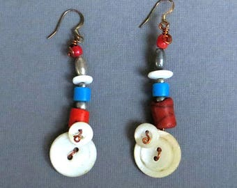 Fun Earrings of Vintage Shell Buttons and Handmade Glass Beads, and Sterling Silver Beads // Red, White and Blue Earrings