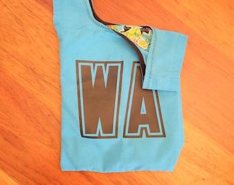 Blue netball bib bag - great upcycled gift for netball players - reusable reused bag for zero waste