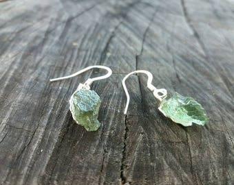 Moldavite Silver Earrings - Rough Gemstones