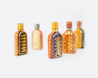 Hip Flask / Recycled Glass Flask with Gold Foil Printed Leather