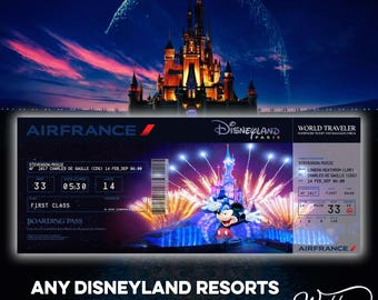 Personalised | Disney Flight Ticket | Boarding Pass | Disneyland Paris | Florida | California | Disney World | Magic Kingdom | ANY RESORT