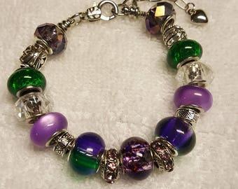 Green and Purple Beaded Bracelet