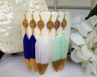 Gold Dipped Feather Earrings, Natural Druzy and Feather Earrings, Gift Idea