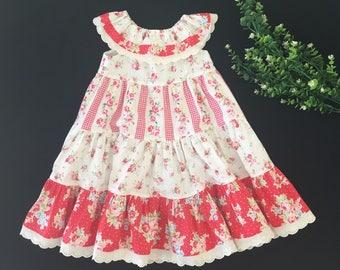 Girls Summer Dress, Size 4, Vintage Style, Tiered Peasant Style Girls Dress, Girls Dress, Special Occasion Girls Dress