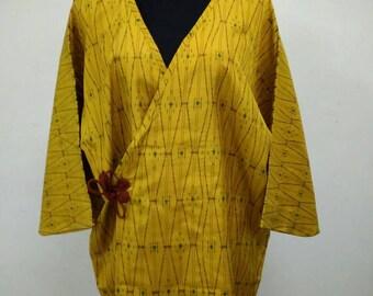 Japanese haori kimono yellow kimono jacket /kimono cardigan/kimono robe/#023