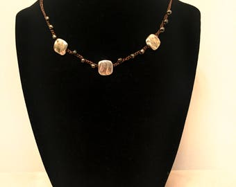 Silver and Brown Choker