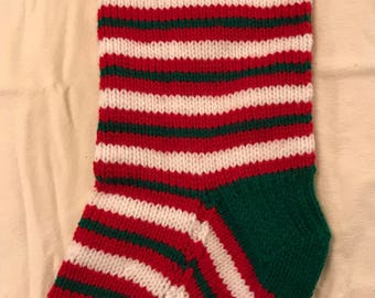 Customized Christmas Stocking - Green, White and Red with Green trim