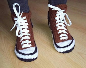 Knitted sneakers slippers Converse style  Brown sneakers slippers Teenage sneakers converse Teenage sneakers Brown teenage slippers sneakers