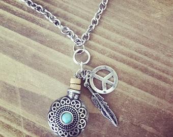 Boho Light Blue Peace & Feather necklace, sterling silver necklace, boho necklace, long silver necklace, fun, peace necklace, hippie