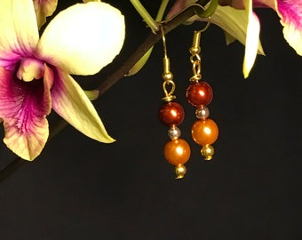 Red and Gold Glass Pearl Earrings
