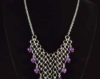Stainless Steel Chainmaille Necklace with Amethyst