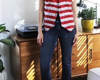 American Flag Sequin Vest
