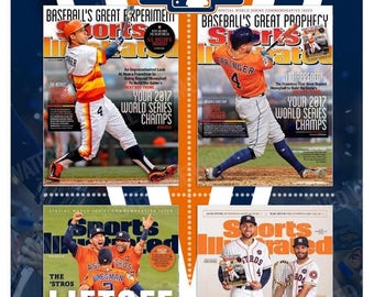 4 Great Sports Illustrated Astros World Series Commemorative Covers 13x19 Poster