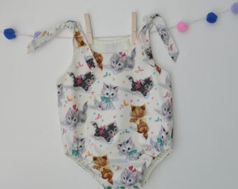 Ready to post, handmade, baby romper, baby frog, stamped cats.
