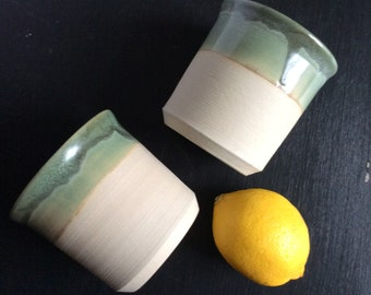 Moss green tumblers - set of two