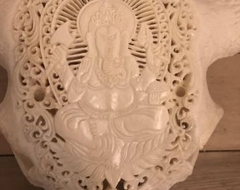Carved Buffalo Skull - Ganesha