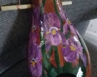 Hand painted birdhouse with purple iris and humming birds, decorative closure at the bottom to easily clean out old nets