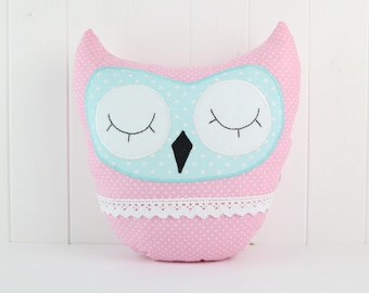 Owl Pillow-Pink-Yellow-Home Decor-Cushion Owl