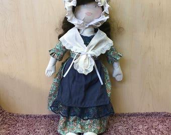 "Handmade OOAK Heirloom Style 20"" Cloth Doll Colonial Brunette"