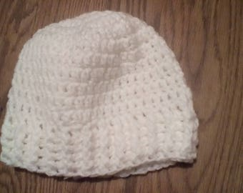 White Crochet Adult Hat