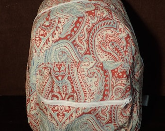 Red and Blue Paisley Backpack