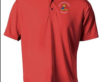 3rd Armored Division Embroidered Moisture Wick Polo Shirt -3998