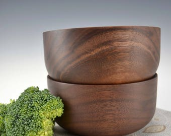 Individual Wooden Salad Bowls-Set of Two in Black Walnut Wood