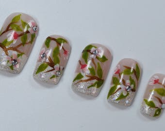 10 Elegant, White and Peach Flower Nails, French Manicure, Wedding Nails, Press On Nails, Glue on Nails, Full Coverage Nails