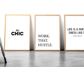 3 poster bundle wall gallery motivational posters monochrome wall decor